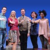 Eric Messner (Rob), Kate Eastwood Norris (Ana), Tom Story (Will), Ashlie Atkinson (Jen), and Rachael Holmes (Lily) in 'The Book Club Play.' Photo by Stan Barouh.