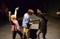 Tiffany Garfinkle as Elise, Yoni Gray as Justin, Kathleen Alvania as Kaballah.  Photo by Chelsie Lloyd.