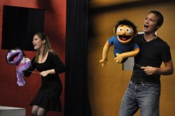 Avenue Q rehearsal – Sherry Benedek as 'Kate Monster' and Zac Brightbill as 'Princeton'