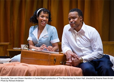 Myxolydia Tyler and Shawn Hamilton in CenterStage's production of The Mountaintop by Katori Hall, directed by Kwame Kwei-Armah. Photo by Richard Anderson