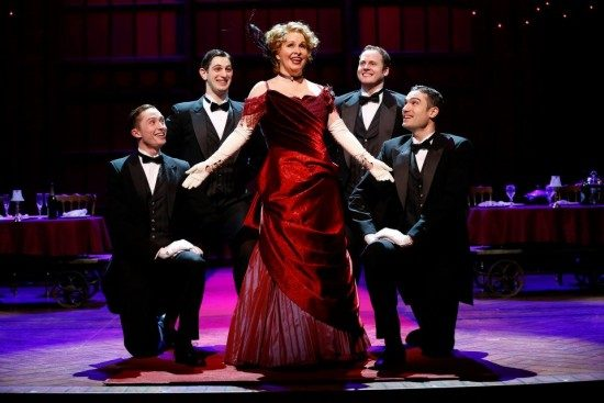 Nancy Opel as Dolly Levi with (at left) Jp Qualters, Harris Milgrim, (at right) Kyle Vaughn and Alex Puette in the Ford's and Signature Theatre co-production of 'Hello, Dolly!' Photo by Carol Rosegg.