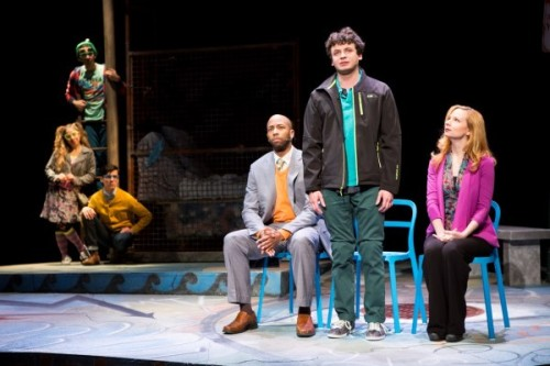 Christopher Wilson as Crazy Glue, Michael V. Sazonov as S.G., Rana Kay as Dream Girl. (l-r, in center) Mark Hairston as Sam, Mark Halpern as Jason, Susan Lynskey as Dr. Gomez in Jason Invisible. Photo by Scott Suchman.