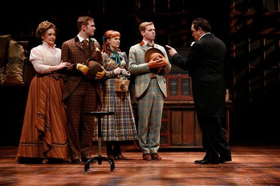Edward Gero as Horace Vandergelder (at right) with Tracy Lynn Olivera, Gregory Maheu, Lauren Williams and Zack Colonna the Ford's Theatre and Signature Theatre co-production of 'Hello, Dolly!' Photo by Carol Rosegg.