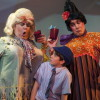 James (Sean Silvia – center), Aunt Sponge and Aunt Spiker (L to R – Phillip Reid and Joe Brack). Photo by Imagination Stage.