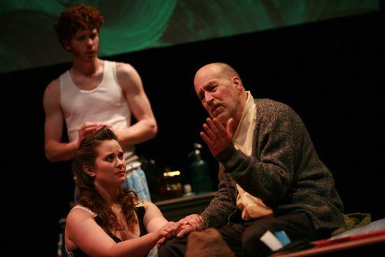 Jon Kevin Lazarus (Peter), Keri Eastridge (Rita), Bill Stanley (Old Man). Photo by Nate Pesce.