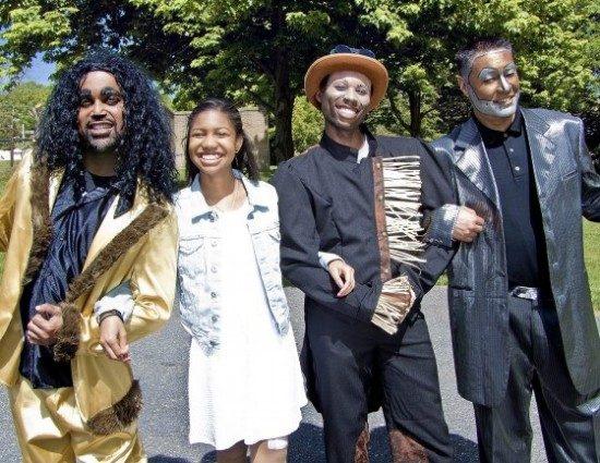 Keith Alexander as Lion, Nia Smith as Dorothy, Sedrick Moody as Scarecrow, and Zadoc Kekuewa as Tin Man.