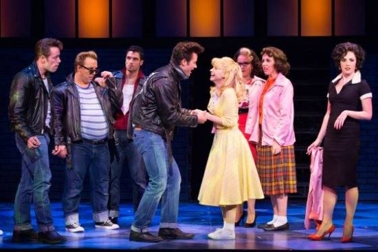 Matthew Ragas, Laura Giknis and Company of Grease at Walnut Street Theatre. Photo by Mark Garvin.