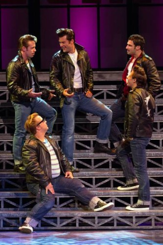 Michael Warrell, Adolpho Blaire, Matthew Ragas, Matthew Rossoff and Richard Cerato in Grease at Walnut Street Theatre. Photo by Mark Garvin.