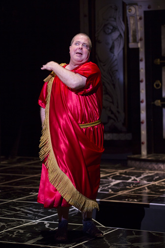 Bruce Dow as Pseudolus in the Shakespeare Theatre Company's production of A Funny Thing Happened on the Way to the Forum, directed by Alan Paul. Photo by T. Charles Erickson.