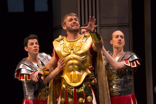 Matthew Bauman as Protean, Edward Watts as Miles Gloriosus and Blakely Slaybaugh as Protean in the Shakespeare Theatre Company's production of A Funny Thing Happened on the Way to the Forum, directed by Alan Paul. Photo by T. Charles Erickson.