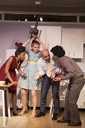 Lauren E. Banks as Tara, Emily Kester as Marianne, Maboud Ebrahimzadeh as Nick, and Jacob Yeh as Marc. Photo by Igor Dmitry.