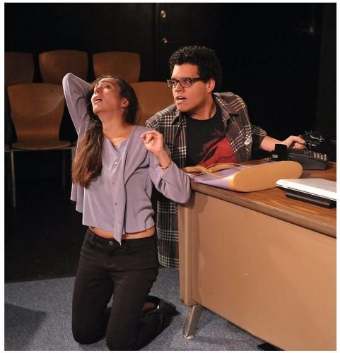 Ariana Almajan as counselor Laura Whalen as and Marlowe Vilchez as Raymond (Rage) Stitt in Rage (Photo Credit: Val Radev)